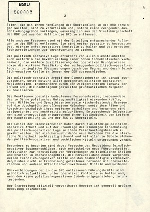 Schreiben an alle Diensteinheiten zur Abschiebung inhaftierter Bürgerrechtler in die Bundesrepublik