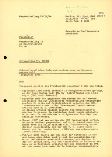 """""""Geheimdienstliches Informationsinteresse"""" an Markus Wolf"""