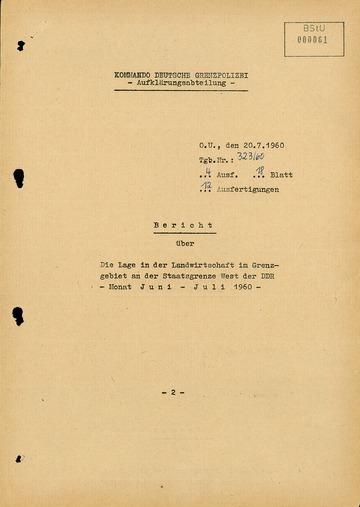 Bericht über die Lage in der Landwirtschaft an der deutsch-deutschen Grenze im Juni und Juli 1960