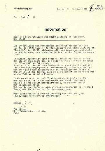 """Information zur Sicherstellung der Zeitschrift """"Sputnik"""""""