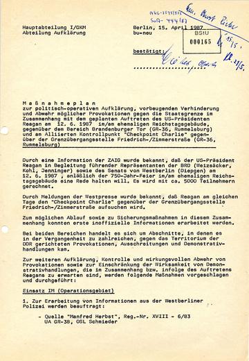 Maßnahmen zur Grenzsicherung während des Berlin-Besuchs des US-Präsidenten Ronald Reagan
