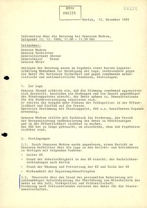 Beratung mit Modrow anlässlich der augenblicklichen Lage und Forderungen an das AfNS