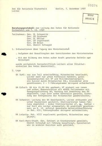 Beratungsprotokoll der Leitung des AfNS
