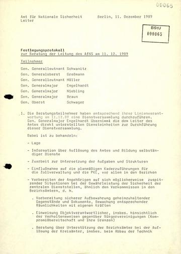 Protokollierung der Zuständigkeiten der Leitung des AfNS