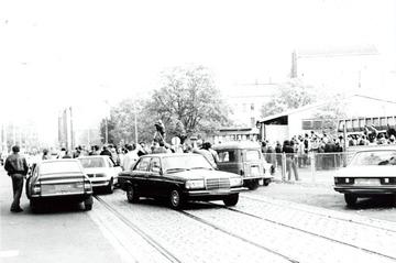 Ankunft Udo Lindenbergs am Grenzübergang Invalidenstraße am 25.10.1983