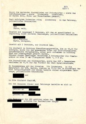 Bericht zu Film- und Fotoaufnahmen im Zusammenhang mit der Einreise Udo Lindenbergs