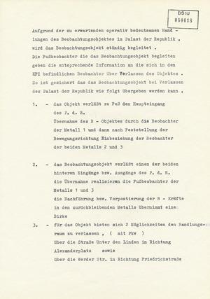 Detaillierte Anweisungen zu den Standorten der Beobachtungsposten rund um den Palast der Republik