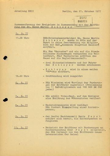"""Protokoll der Entführung von Hanns Martin Schleyer und des Passagierflugzeuges """"Landshut"""""""