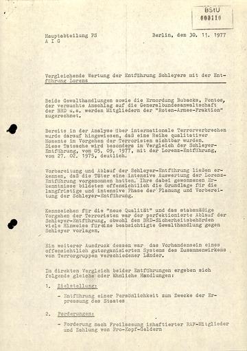 Vergleich der Entführungen von Hanns Martin Schleyer und Peter Lorenz