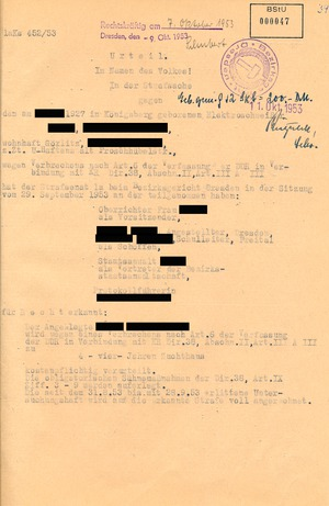 Urteil gegen einen Protestredner vom Volksaufstand des 17. Juni 1953 in Görlitz