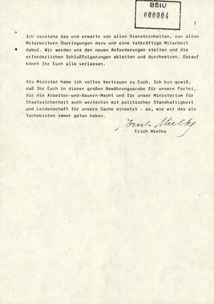 """Persönliches Schreiben Erich Mielkes an alle Mitarbeiter über """"Beruhigung und Stabilisierung der Lage"""""""