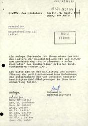 Bericht nach der ersten Sendung über die Hintergrundpersonen und Wirksamkeit auf die DDR