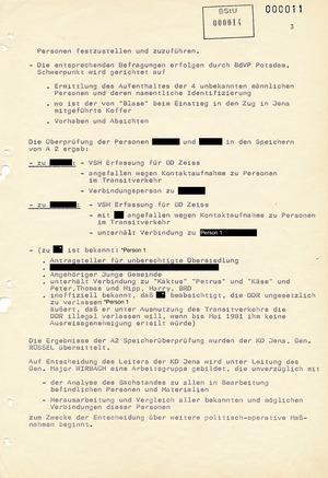 """Informationsbericht des Operativen Einsatzstabes """"Kampfkurs X"""", datiert vom 10.04.1981"""