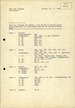 Übersicht über die Nutzung der einzelnen Häuser in der Stasi-Zentrale Berlin-Lichtenberg