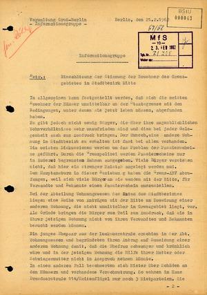Analyse der Stimmung der Bewohner des Grenzgebietes in Berlin-Mitte vom 21. Februar 1962