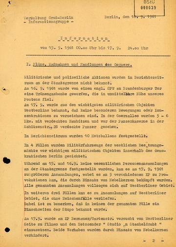 Lagebericht über die Situation an der Grenze zu West-Berlin kurz nach dem Mauerbau