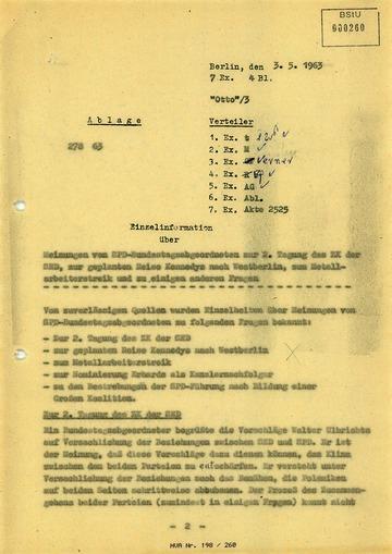 Stimmen von SPD-Bundestagsabgeordneten zur geplanten Reise Kennedys nach West-Berlin