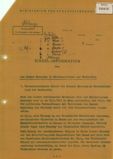 Information über den Besuch Kennedys in der Bundesrepublik und West-Berlin