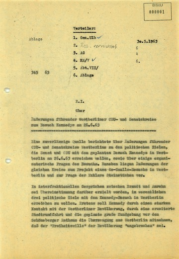 """Bericht über """"Äußerungen führender Westberliner CDU- und Senatskreise zum Besuch Kennedys am 26.6.63"""""""