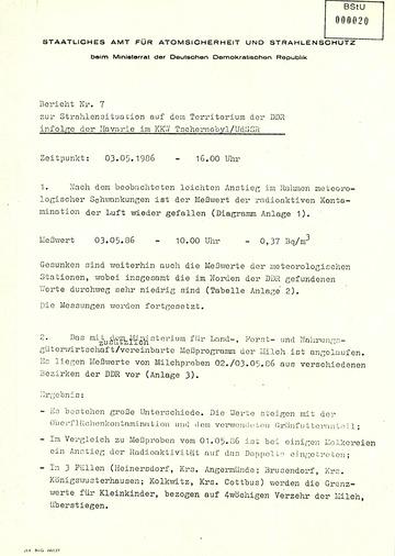Bericht zur radioaktiven Strahlenbelastung in der DDR nach dem Reaktorunglück in Tschernobyl