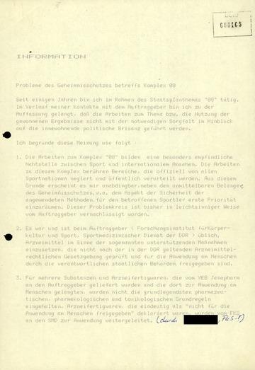 """Bericht des IM """"Klinner"""" zum Geheimnisschutz beim """"Staatsplanthema 14.25"""""""