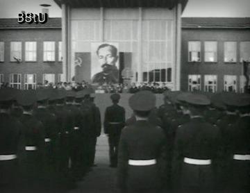 Appell des Wachregiments Berlin und Rede Erich Mielkes zum 100. Geburtstag von Feliks Dzierzynski