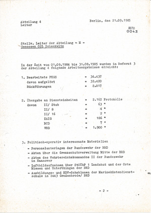 Auflistung von entnommenen Gegenständen aus fehlgeleiteten Paketen 1984/1985