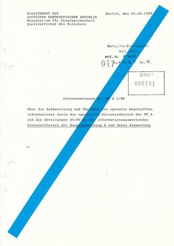 Dienstanweisung Nr. HV A 1/88 zur Informationsübergabe und -auswertung