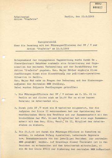"""Kurzprotokoll zur Beratung zur Aktion """"Stafette"""""""