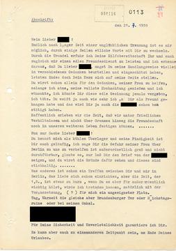 Abschrift eines Briefes Smolkas an einen Bekannten bei der Grenzpolizei