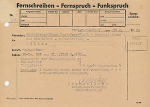 Meldung an die zentrale Einsatzleitung in Berlin über Verhaftungen im Bezirk Karl-Marx-Stadt