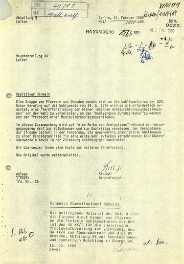 Eingabe von Dresdner Pfarrern an Egon Krenz
