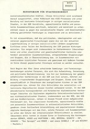 Information Nr. 150/89 über Aktivitäten Oppositioneller und Bürgerrechtler