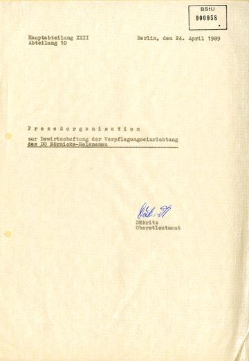 Geschäftsprozesse zur Bewirtschaftung des Dienstobjektes Helenenau