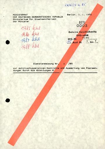 Dienstanweisung Nr. 3/85 zur politisch-operativen Kontrolle und Auswertung von Postsendungen