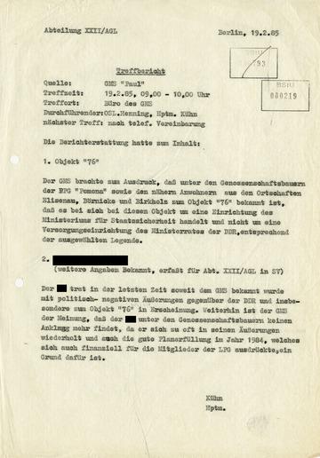 """Bericht des GMS """"Paul"""" zum geheimen """"Objekt 76"""""""