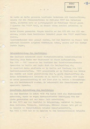 Vorschlag zur Anwerbung des Anwalts Götz Berger als Geheimen Informator