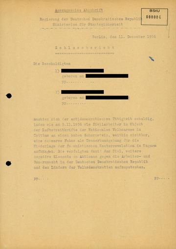 """Schlussbericht zum Untersuchungsvorgang gegen zwei Arbeiter wegen """"Kriegshetze"""""""