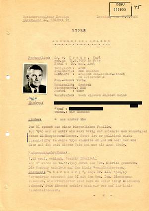 Auskunftsbericht über Karl von Kraus