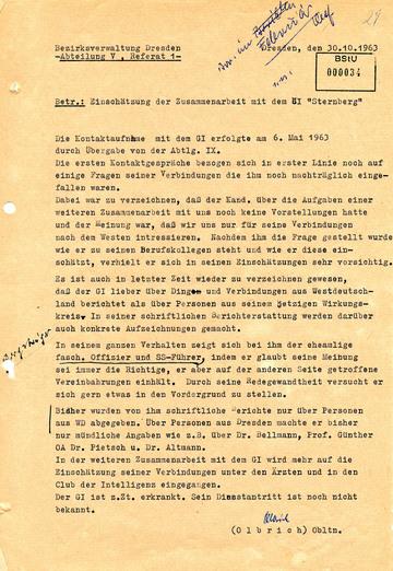 """Einschätzung der Zusammenarbeit mit dem Geheimen Informator """"Sternberg"""""""