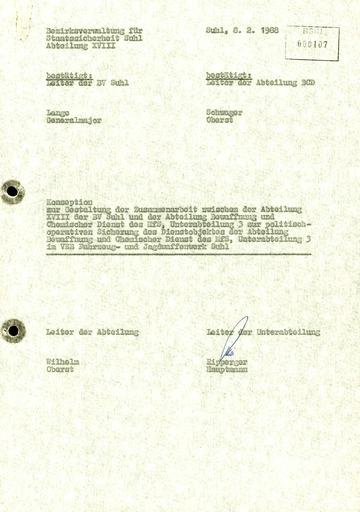 Regelung über die Zusammenarbeit zwischen der Abteilung XVIII der Bezirksverwaltung Suhl und der Abteilung Bewaffnung und Chemischer Dienst