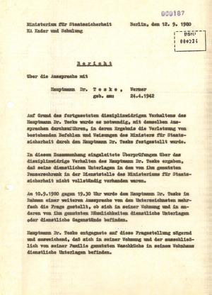 """Bericht über eine Aussprache mit Werner Teske über sein """"disziplinarwidriges Verhalten"""""""