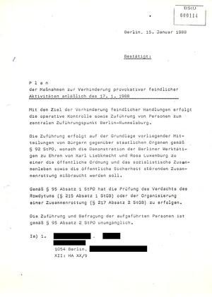 """Maßnahmeplan zur """"Verhinderung provokativer feindlicher Aktivitäten"""" bei der Kampfdemonstration am 17. Januar 1988"""