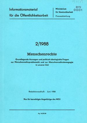 MfS-Presseabteilung Informationsmaterial 2/1988: Menschenrechte