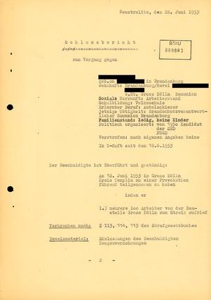 Abschlussbericht zum Untersuchungsvorgang gegen einen Lackierer wegen einer Provokation gegenüber eines Parteisekretärs während des Volksaufstandes