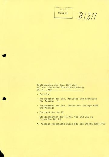 Referat Erich Mielkes auf einer Dienstbesprechung kurz vor den Kommunalwahlen 1989