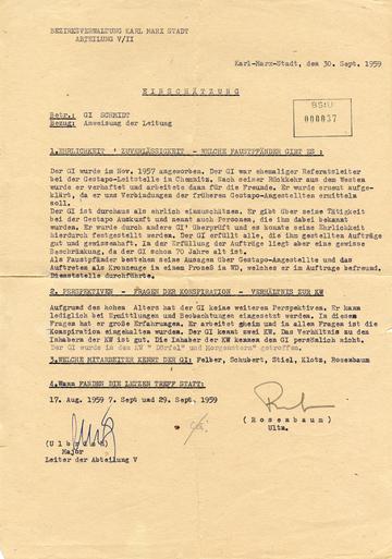 """""""Einschätzung"""" der Zusammenarbeit mit dem """"Geheimen Informator"""" und ehemaligen Gestapo-Mitarbeiter """"Schmidt"""""""