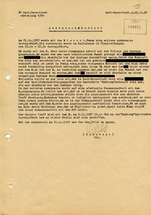 """""""Aussprachebericht"""" zur Anwerbung eines ehemaligen Gestapo-Angehörigen als """"Geheimer Informator"""""""