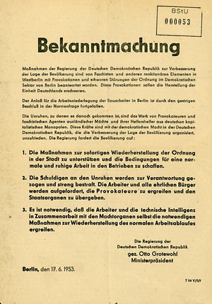 Bekanntmachung der DDR-Regierung zur Wiederherstellung der Ordnung vom 17. Juni 1953