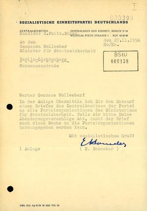 Entwurf für einen Brief Erich Honeckers an die Parteiorganisationen des MfS